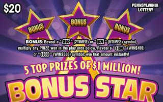 BONUS STAR MILLIONS from 20$ PA LOTTERY
